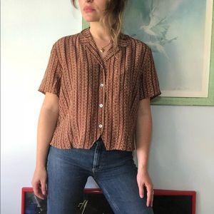 VINTAGE stripe 100% silk blouse